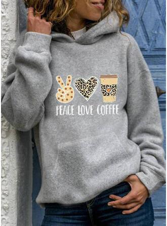 Impresión Leopardo Corazón Manga larga con capucha