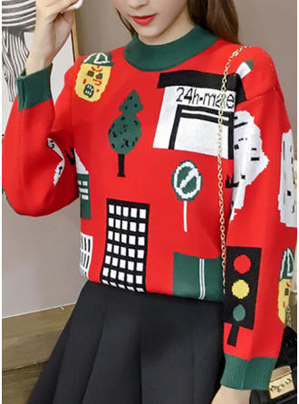 Cotton Round Neck Print Ugly Christmas Sweater