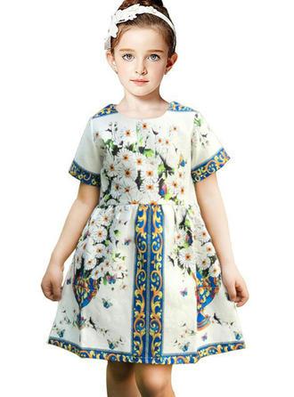Dziewczyny Okrągły Dekolt Kwiatowy Ładny Flower Girl Sukienka