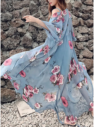 Print Floral V-neck Maxi Shift Dress (Two Pieces)