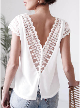 Solid V Neck Short Sleeves Casual Sexy Blouses