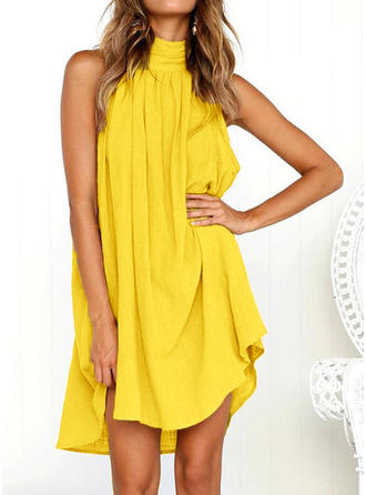 Solid Stand collar Above Knee Shift Dress