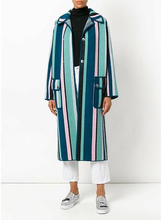 Polyester Manches longues Striped Manteaux de Laine