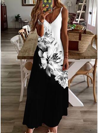 Nadruk/Kwiatowy/Blok Koloru Bez Rękawów Sukienka Trapezowa Halka/Łyżwiaż Nieformalny Maxi Sukienki