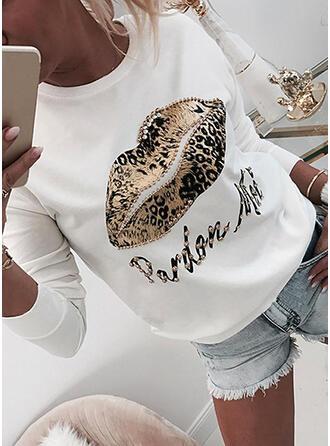 Leopardo Cuello redondo Manga larga Sudadera