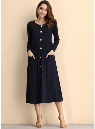 Couleur Unie Manches Longues Trapèze Longueur Genou Vintage/Décontractée/Élégante Robes