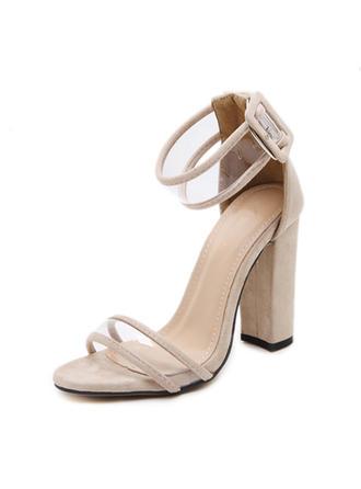 Dla kobiet Zamsz Obcas Slupek Sandały Czólenka Otwarty Nosek Buta Z Klamra obuwie