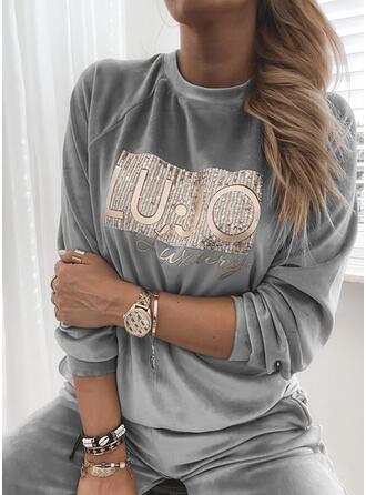 pailletter Figur rund hals Lange ærmer Sweatshirts