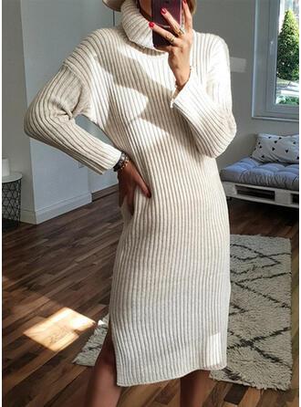 Solid Mâneci Lungi Manşon Până la Genunchi Negre/Casual Pulover Elbiseler