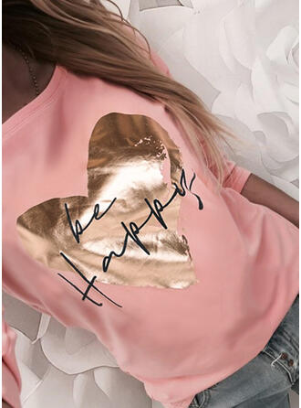Heart Print Letter Round Neck Long Sleeves T-shirts