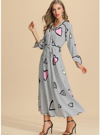 Nadrukowana Długie rękawy W kształcie litery A Maxi Casual/Elegancki Sukienki