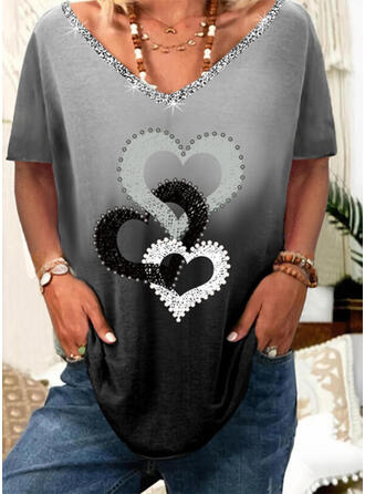 Gradient Heart Print Sequins V-Neck Short Sleeves T-shirts