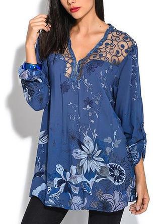Print V Neck Long Sleeves Casual Elegant Blouses