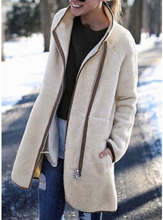 Polyester Long Sleeves Plain Faux Fur Coats
