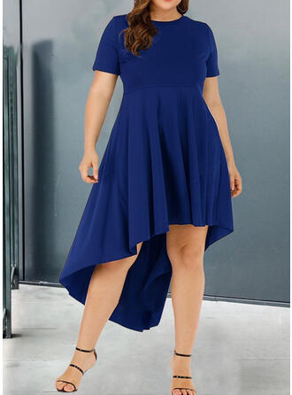 Solid Short Sleeves A-line Asymmetrical Casual/Plus Size Dresses