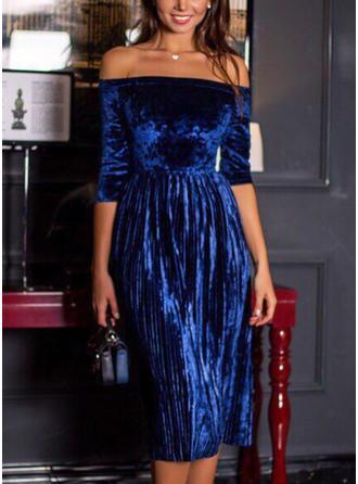 Solid 1/2 Sleeves A-line Midi Vintage/Elegant Dresses