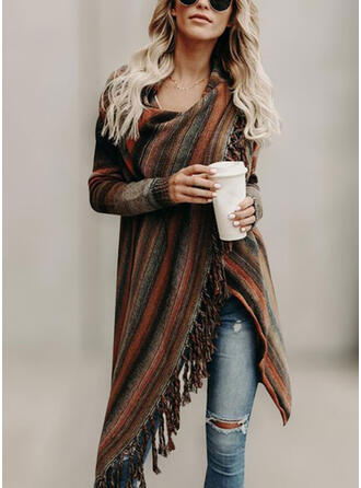 Striped Round Neck Cardigan
