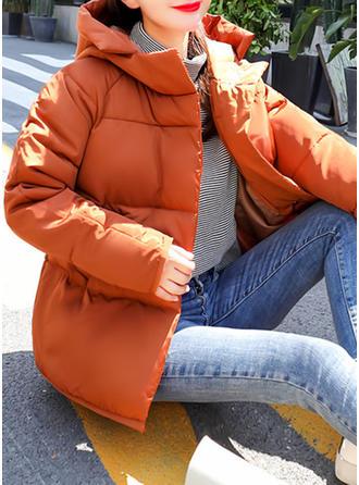 Poliester Bawełna Długie rękawy Jednolity kolor Długie Płaszcze