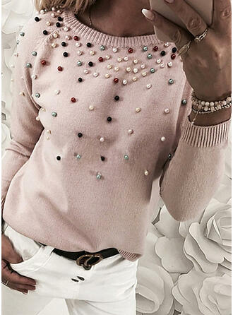 Einfarbig Perlen Rundhalsausschnitt Freizeit Pullover