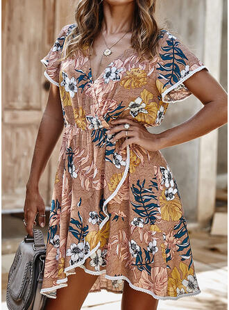 Lace/Print/Floral Short Sleeves A-line Asymmetrical Casual/Vacation Dresses