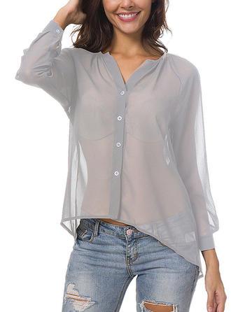 Chiffon V Neck Plain Long Sleeves Shirt Blouses