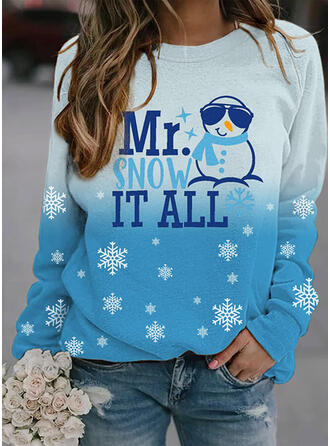 Print Figur Gradient rund hals Lange ærmer Jule sweatshirt