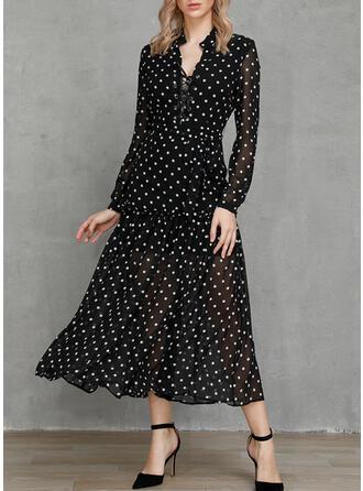 PolkaDot Long Sleeves A-line Casual/Elegant/Vacation Maxi Dresses