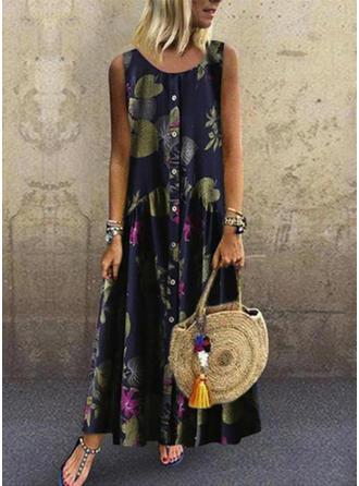 Print/Floral Sleeveless Shift Casual/Boho/Vacation Maxi Dresses
