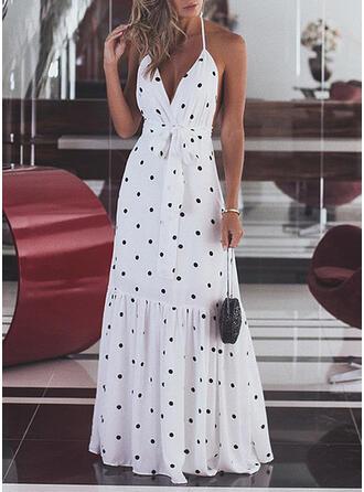 PolkaDot Sleeveless A-line Sexy/Party/Vacation Maxi Dresses