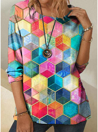 Print Geometric Round Neck 1/2 Sleeves T-shirts