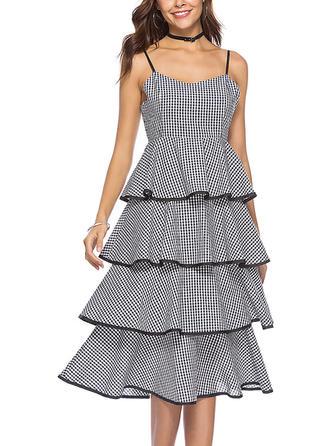 Plaid Ruffles Spaghetti Straps Midi A-line Dress