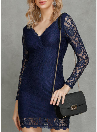 Lace/Solid Long Sleeves Bodycon Knee Length Sexy/Party/Elegant Dresses
