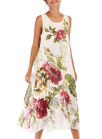 Print/Floral Sleeveless Shift Midi Casual Dresses
