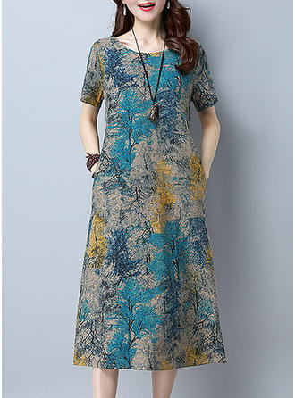 Print Short Sleeves Shift Midi Casual Dresses