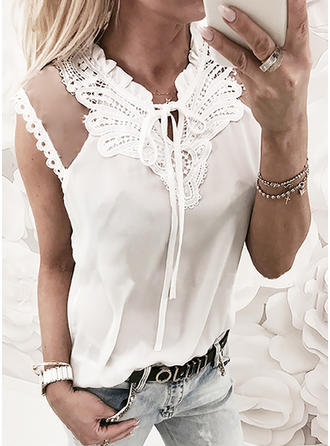 Polyester Round Neck Plain Sleeveless Casual Blouses