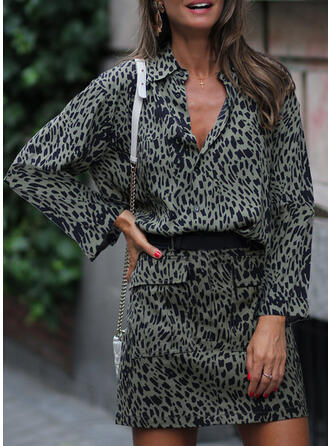 Print/Leopard Long Sleeves Sheath Above Knee Casual Dresses