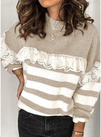 Striped Lace Round Neck Casual Sweaters