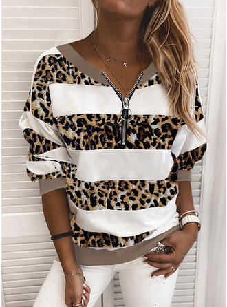Color Block Striped Leopard Round Neck Long Sleeves Sweatshirt