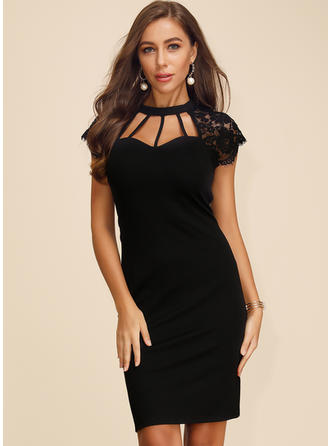 Lace/Solid Short Sleeves Bodycon Knee Length Little Black/Sexy/Party Dresses