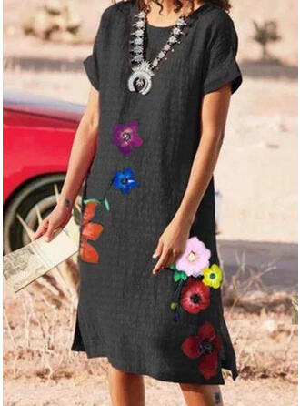 Floral/Solid Short Sleeves Shift Knee Length Casual Dresses