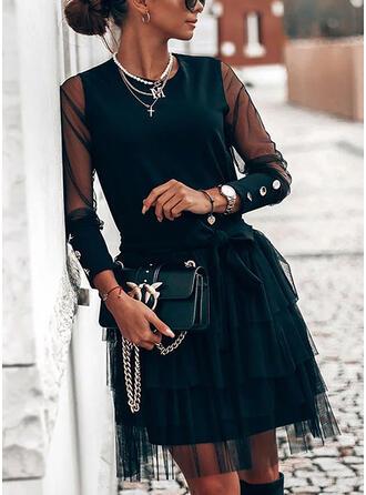 Solid Long Sleeves A-line Knee Length Little Black/Elegant Skater Dresses