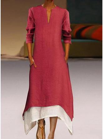 Color-block 3/4 rukávy Splývavé Midi Večírek/Elegantní Šaty