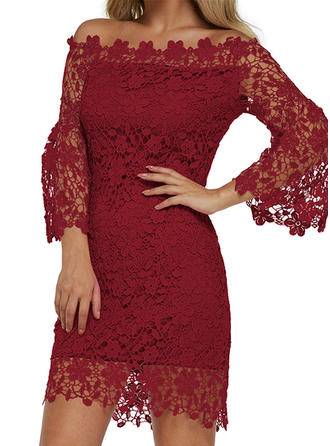Lace 3/4 Sleeves Bodycon Knee Length Casual Dresses