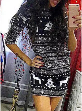 Print 3/4 Sleeves Bodycon Above Knee Christmas/Casual Dresses