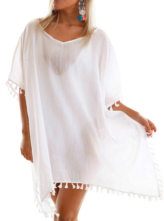 Solid Color Round Neck Cover-ups Swimsuit