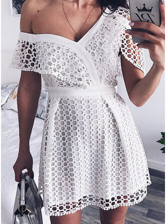 Lace/Solid Short Sleeves A-line Above Knee Casual/Elegant Dresses