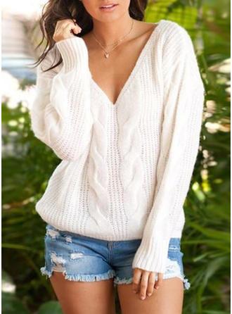Polyester V-neck Couleur unie Pulls Tricot à Câble gros tricot Pulls