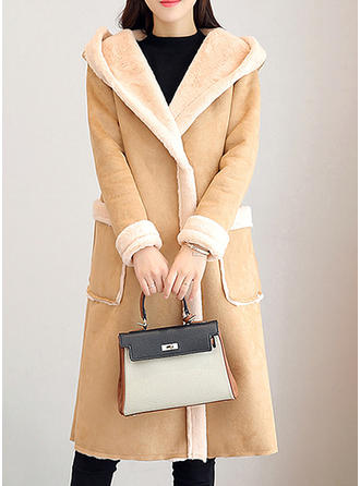 Cotton Long Sleeves Plain Wide-Waisted Coats