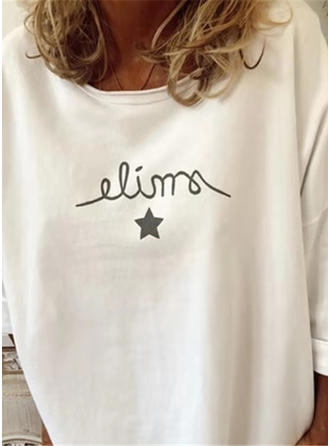 Print Round Neck 3/4 Sleeves Casual Knit Blouses