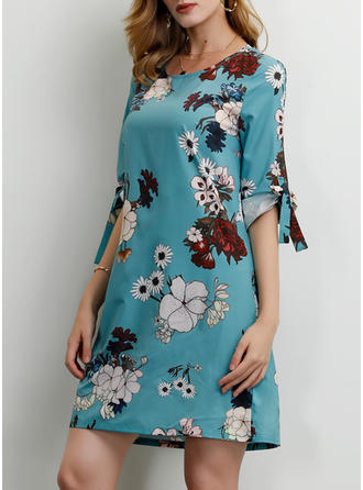 Print/Floral 1/2 Sleeves Shift Above Knee Casual/Elegant/Vacation Dresses